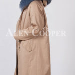European styled long winter parka with real fur voluminous hood side view