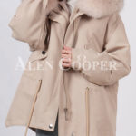 Fashionable women's custom fur hooded warm winter parka
