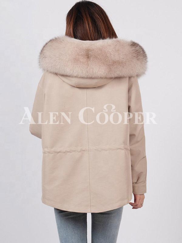 Fashionable women's custom fur hooded warm winter parka Back side view