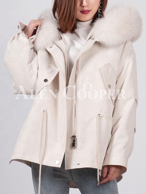 Fashionable women's custom fur hooded warm winter parka White
