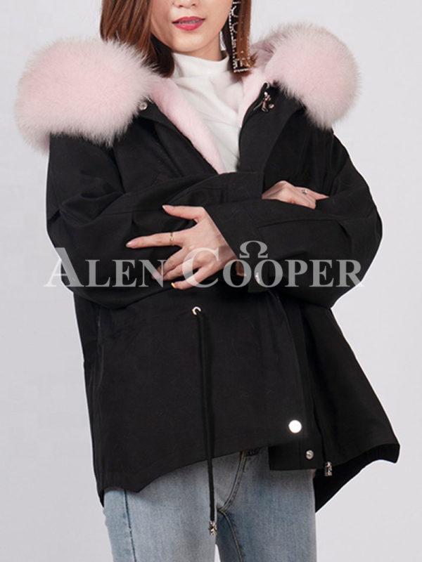 Fashionable women's custom fur hooded warm winter parka black