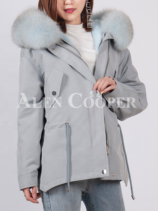 Fashionable women's custom fur hooded warm winter parka grey