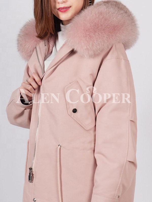 Fashionable women's custom fur hooded warm winter parka pink