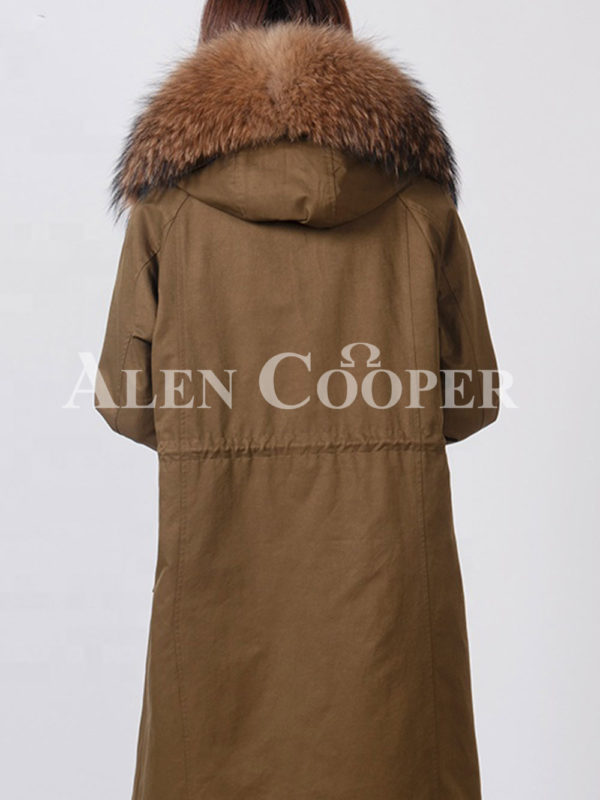 Highly stylish voluminous real fur hooded winter parka for women back side view