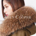 Highly stylish voluminous real fur hooded winter parka for women close view