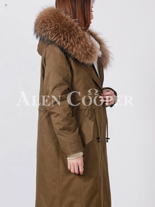 Highly stylish voluminous real fur hooded winter parka for women side view