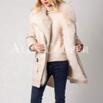 Long and comfortable super warm fur hooded winter parka for women in White