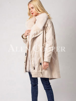 Long and comfortable super warm fur hooded winter parka for women in White side view