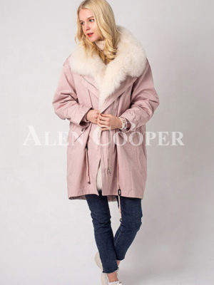 Long and comfortable super warm fur hooded winter parka for women in pink