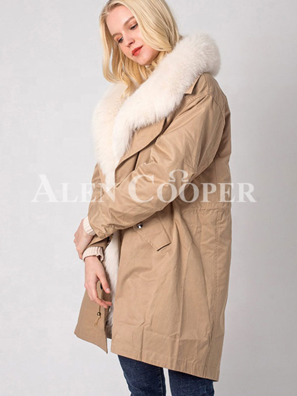 Long and comfortable super warm fur hooded winter parka for women side view