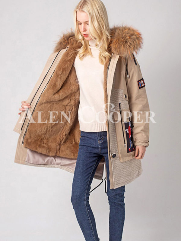 Long luxurious warm winter fur hood parka for women