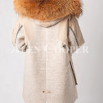 Long luxurious warm winter fur hood parka for women back side view