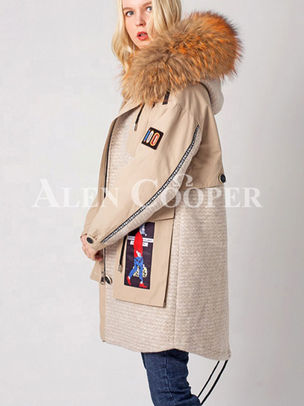 Long luxurious warm winter fur hood parka for women side view