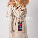 Long luxurious warm winter fur hood parka for women's