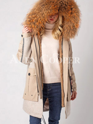 Long luxurious warm winter fur hood parka women