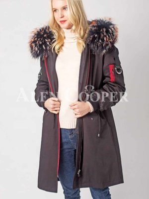 Long n stylish warm winter parka with voluminous fur hood for women