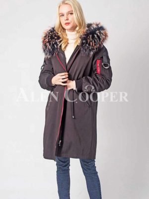 Long n stylish warm winter parka with voluminous fur hood women
