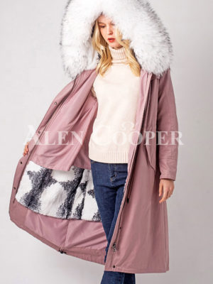 Long warm winter parka with two-color raccoon fur collar and hood