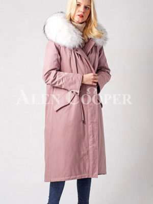 Long warm winter parka with two-color raccoon fur collar and hood pink