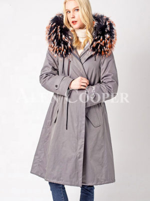 Long winter warm parka with voluminous fur hood