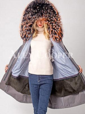 Long winter warm parka with voluminous furhood