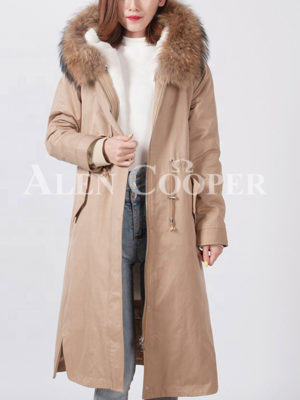 Luxury fur hooded and fur lined warm winter long parka for women