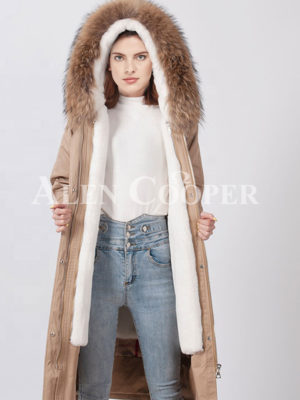 Luxury fur hooded and fur lined warm winter long parka for womens