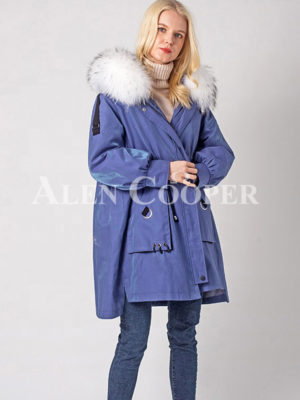 Luxury waterproof warm winter parka with real fur hood for womenblue