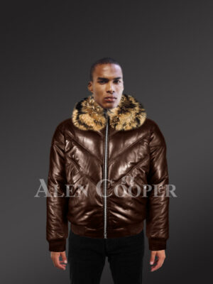 Men's 100% real leather coffee v bomber winter jacket with raccoon fur collar model