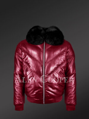 Men's trendy and traditional real warm real leather v bomber jacket with black fur collar