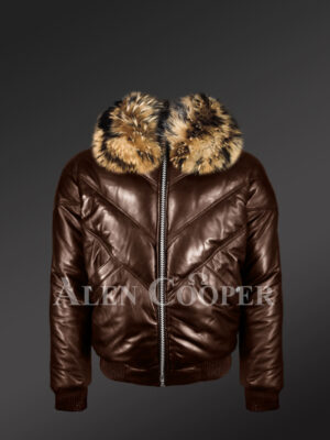 New Men's 100% real leather coffee v bomber winter jacket with raccoon fur collar