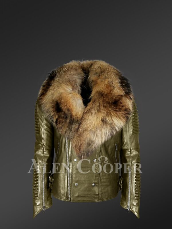 New Real raccoon fur collar asymmetrical zipper closure real leather jacket