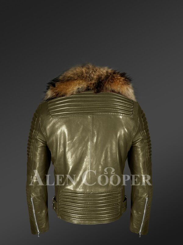 New Real raccoon fur collar asymmetrical zipper closure real leather jacket back side view
