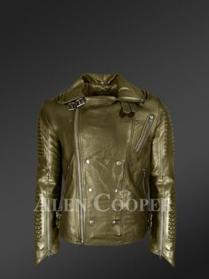 New Super stylish real leather winter biker jacket with lapel collar