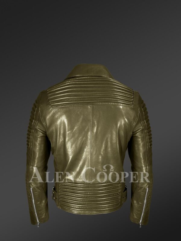 New Super stylish real leather winter biker jacket with lapel collar back view