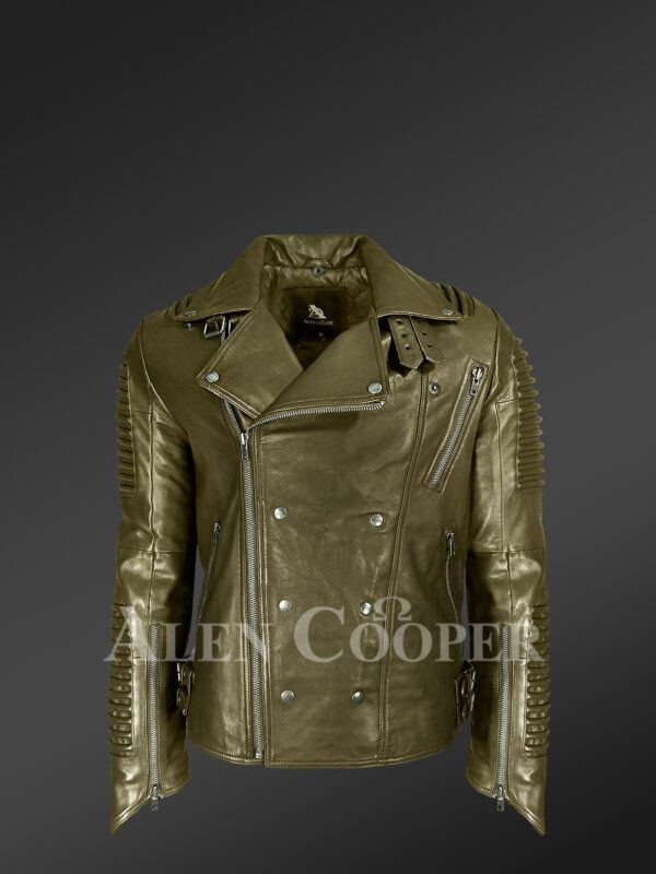 New Super stylish real leather winter biker jacket with lapel collar view