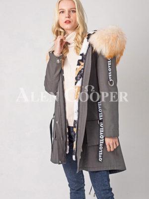 Over-sized voluminous wind proof fur hood parka women