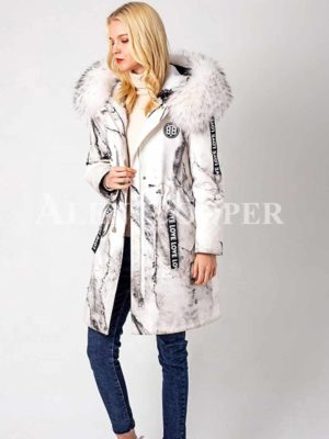 Printed popular warm winter parka with solid fur hood