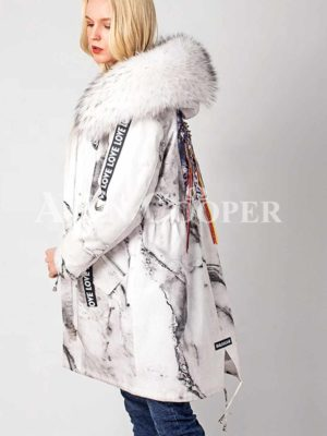 Printed popular warm winter parka with solid fur hood side view