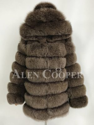 Quilt illusion real fox fur winter vest with protective hood