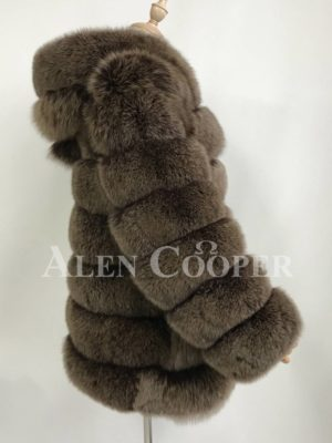 Quilt illusion real fox fur winter vest with protective hood side view