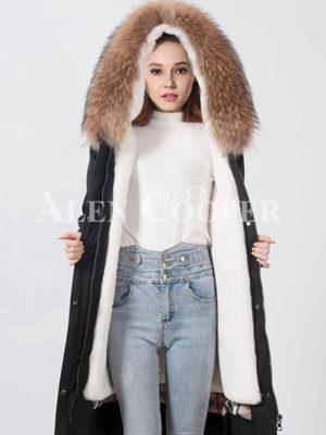 Raccoon fur hooded warm winter parka women