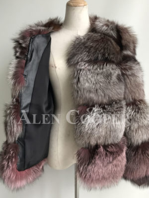 Real fox fur quilted winter outerwear for women Inner view