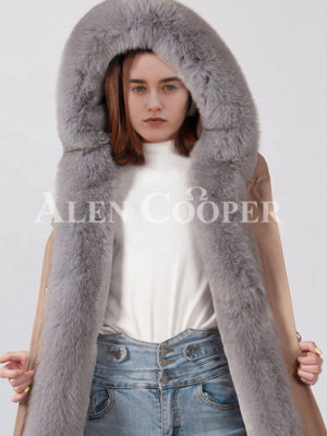 Real fur hooded and long collar durable winter parka for women close view
