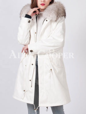 Real fur hooded luxury long warm winter parka for womens