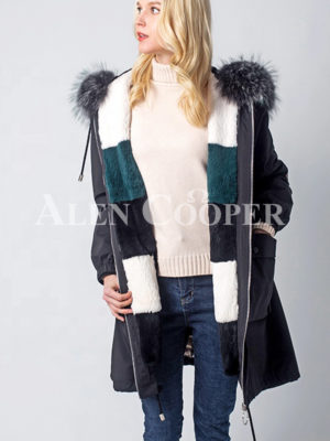 Real fur hooded windproof comfortable parka women