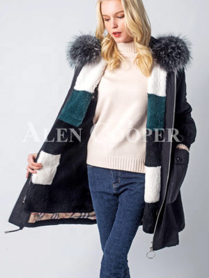 Real fur hooded windproof comfortable parka women's
