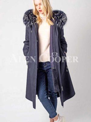 Real fur lined warm winter parka women's