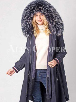 Real fur lined warm winter women's parka