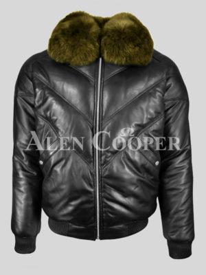 Real leather v bomber black jacket for men with Olive fur